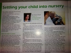 Settling your child into nursery article