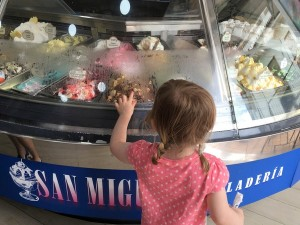 Wellingborough Day Nursery travelling with babies blog child looking at icecream