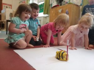 Mark making with the beebot at Wellingborough Day Nursery preschool